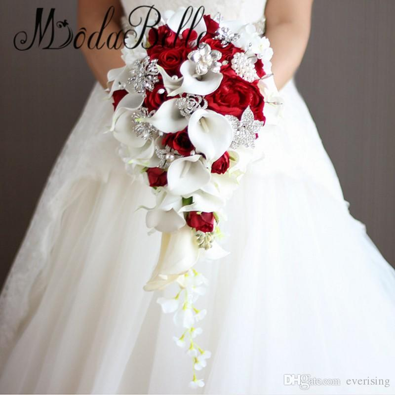 Artificial Pearl And Crystal Bridal Bouquet Ivory Brides Handmade Brooch Noiva Red Cascading Wedding Waterfall Heb Flowers