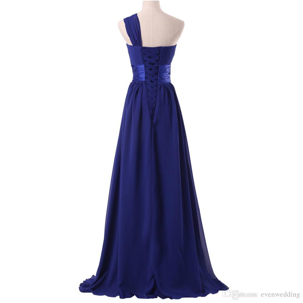 Um ombro longo chiffon vestido de dama de honra borgonha roxo preto novo e elegante vestido de festa mulheres rendas até
