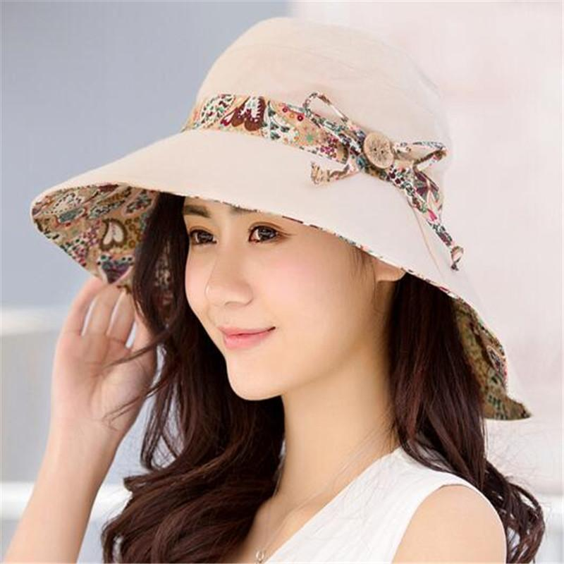 93602c45 Womens Sun Hats Reversible Beach Hat UV Protection Foldable Wide ...
