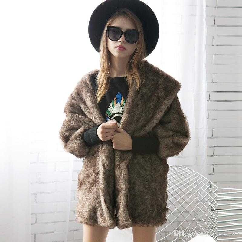 Women Rabbit Fur Coat Black Gray Faux Fur Shawl Collar Long Parka Jacket Oversized Bat-Wing Sleeve Winter Jackets Coats CJG0803