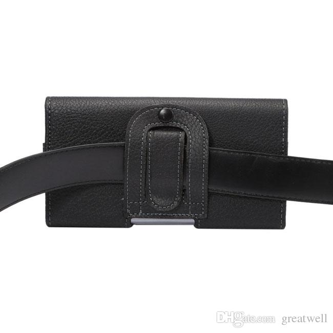 Pelle Universale del grano del litchi PU Case Cover Pouch vita con clip da cintura 4,7 a 6.3inch del cellulare iPhone Pro 11 Max Samsung Note 10