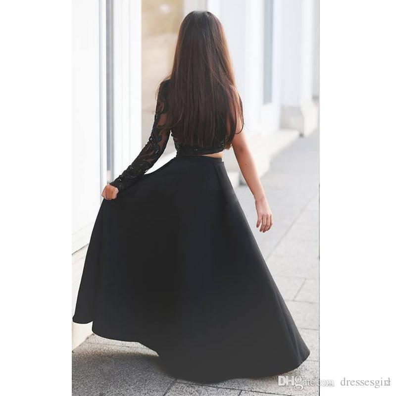 New style 2017 One-Shoulder Black Girl's Pageant Dresses Two Pieces Appliques Rhinestones Sheer Long Sleeve Long Kid Formal Party Dresses