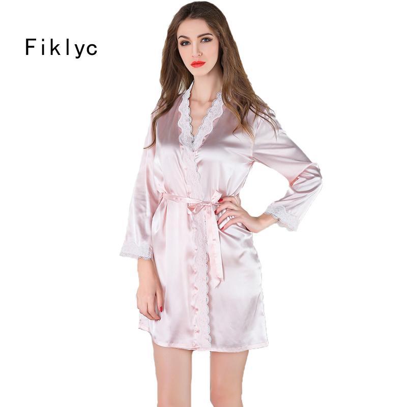 eda44de9f3 Wholesale- Women s Bathrobe Sexy Kimono Robes Lingerie Bridesmaid Robes  Silk Bath Robe Vestido Branco for Female Plus Size Robes Nightgowns Robe  Terry Robe ...