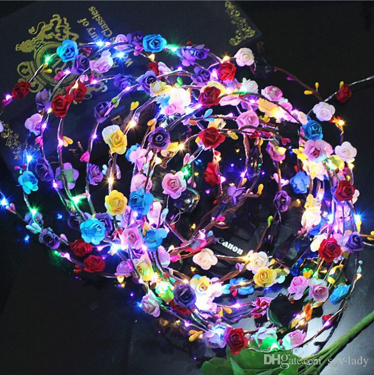 Girl's Hair Accessories Novelty Led Flashing Flower Headband Hairband Glowing Light Floral Wreath Hair Ornament Children Girls Toys Christmas Party Girl's Accessories