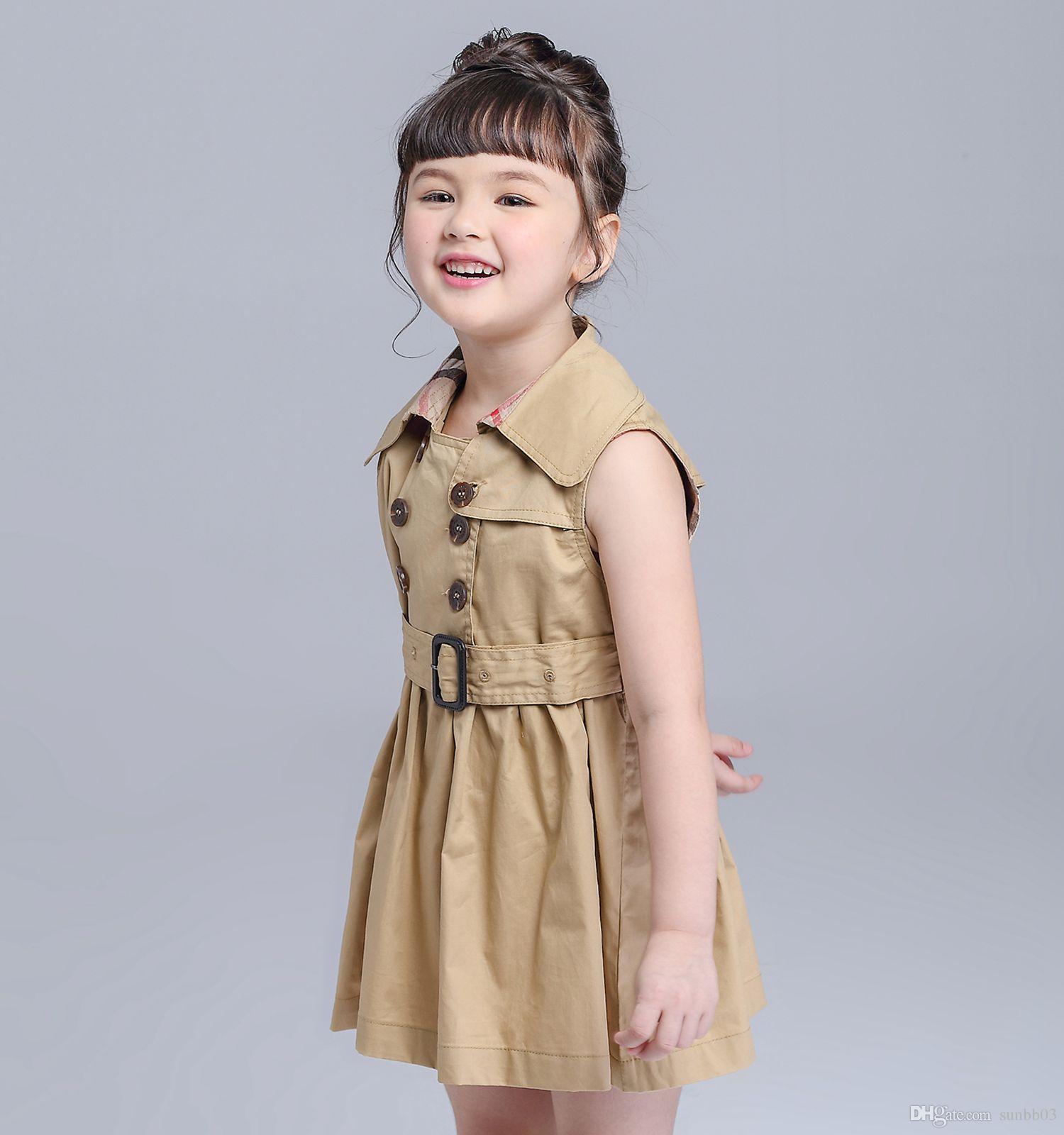 Nuova Primavera Estate Le ragazze vestono in doppio petto maniche Vest Dress Europa modo scherza la principessa dei bambini ha pieghettato i vestiti con la cinghia 10802