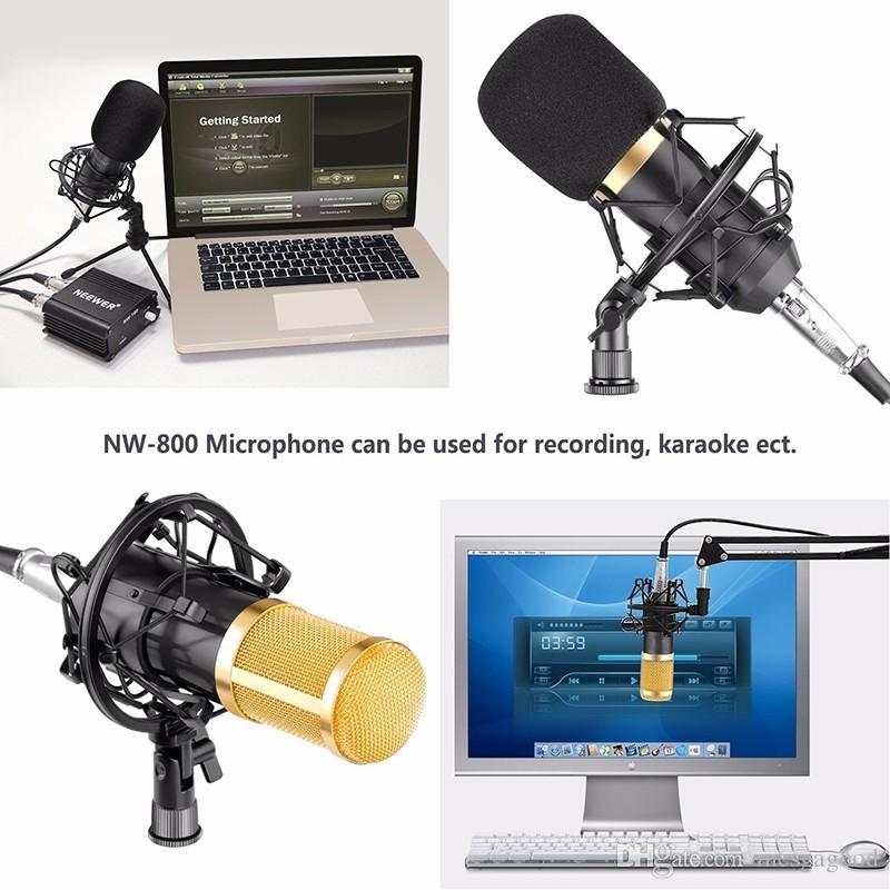الجملة الجديدة BM-800 مكثف ميكروفون تسجيل الصوت Microfone مع صدمة جبل راديو Braodcasting ميكروفون للكمبيوتر سطح المكتب bm800