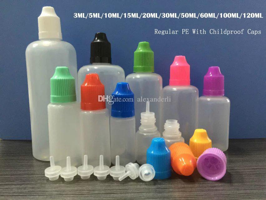 Eliquid goutte Bouteilles 3ml 5ml 10ml 15ml 20ml 30ml 50ml 60ml 100ml 120ml Bouteilles en plastique avec l'épreuve des enfants capsules de bouteilles de jus CIGS E