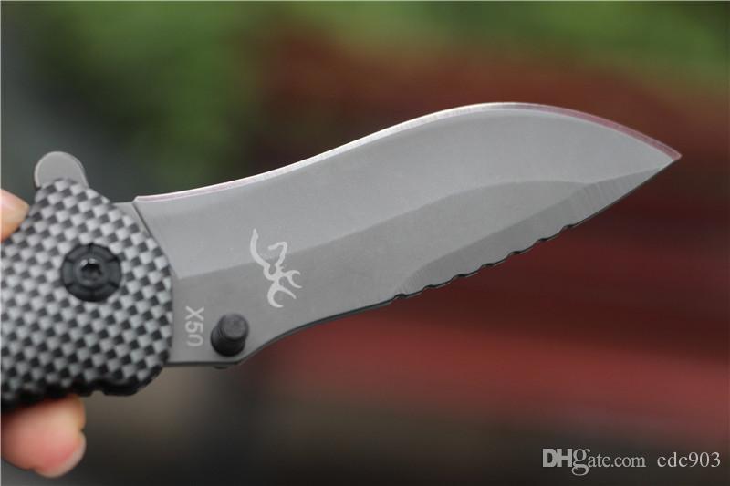Freies verschiffen Browning X50 Taktische Taschenmesser Stahl Klinge Holzgriff Titan Überlebensmesser Huntting Angeln EDC Werkzeug Mit box