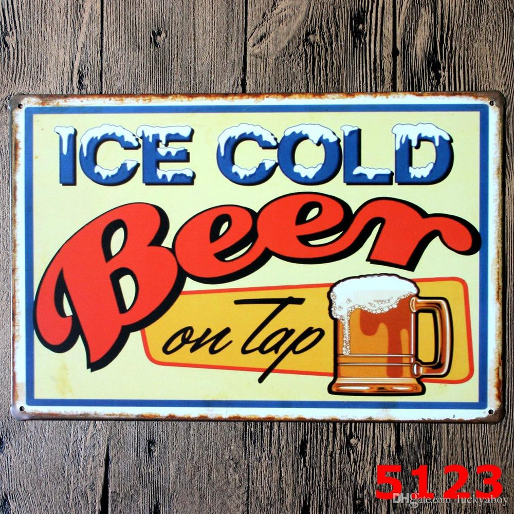 Cold Beer Here Metal Poster Wall Decor Bar Home Vintage Craft Gift Art 20x30cm Iron painting Tin Poster Mixed designs