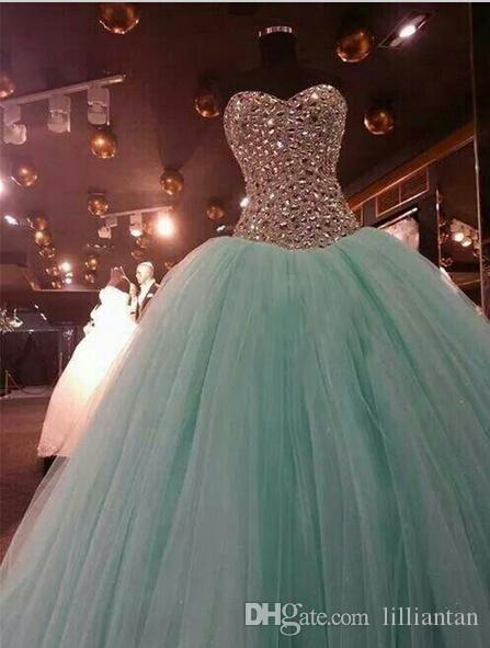 Kryształ Zroszony Suknia Wieczorowa Światła Mint Green Quinceanera Suknie Dubaj Kaftan Eleganckie Kobiety Balowa Suknia Prom Dress Vestido de Festa Longo