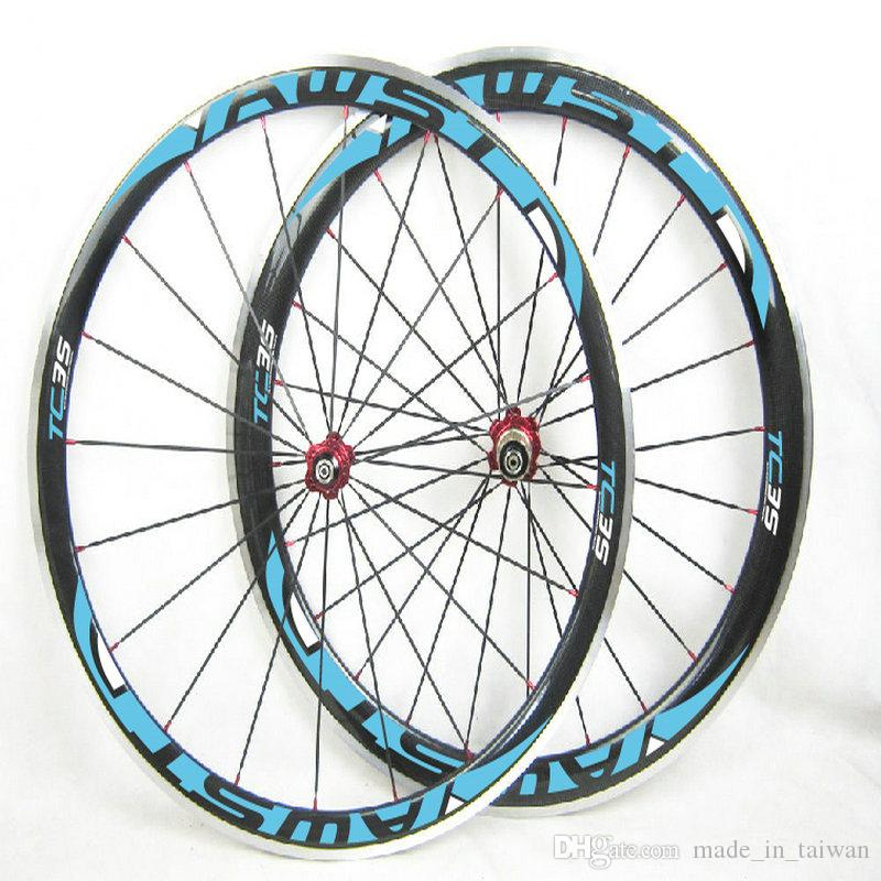 AWST 38mm clincher 700C alloy carbon wheels road bicycle wheels set blue aluminum rim bike wheels made in china
