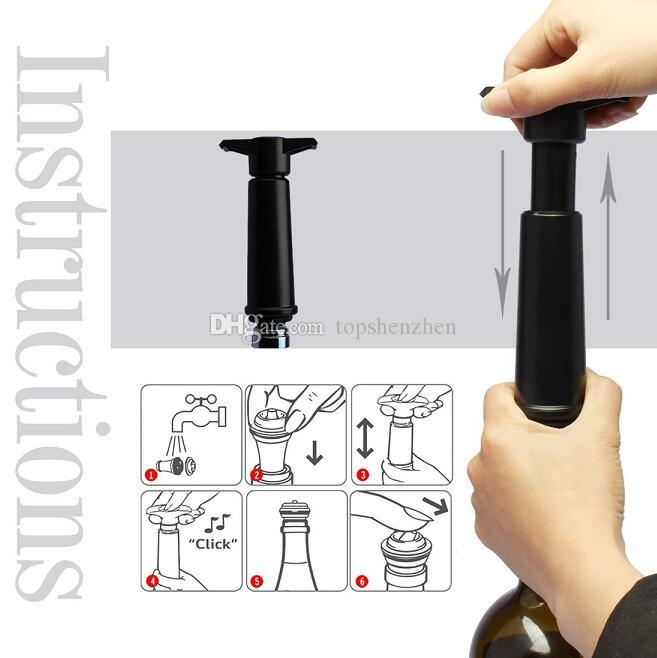 Risparmio di vino di alta qualità con 2 tappo vuoto Tappo vino vuoto di plastica, pompa vuoto preservatore di vino bottiglia di vino