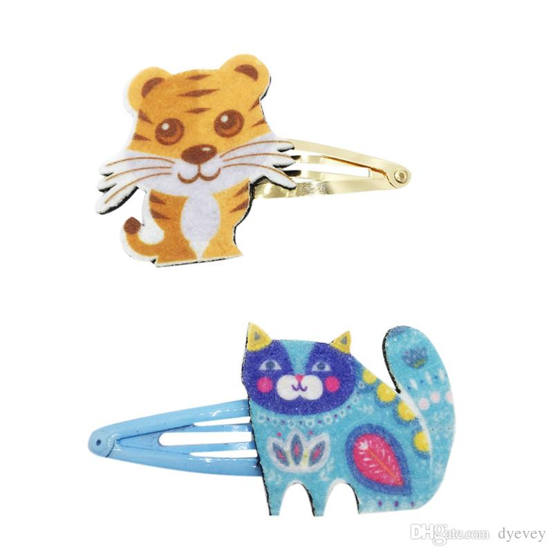 Tiger and cat hair pins color print felt hair clips for little girl
