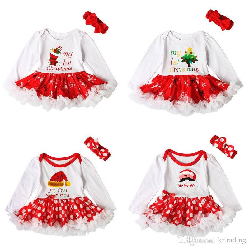Großhandel Baby Mädchen Weihnachten Strampler Kleid 2ps Set Rote ...