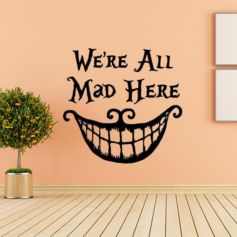 Alice In Wonderland Wall Sticker Quote Cheshire Cat Sayings We Are ...
