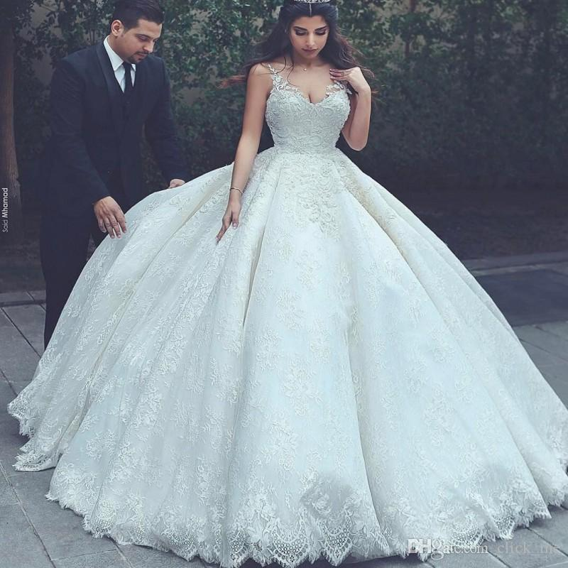 Cheap Wedding Dresses To Rent: Discount Lace Ball Gown Wedding Dresses Spaghetti Straps