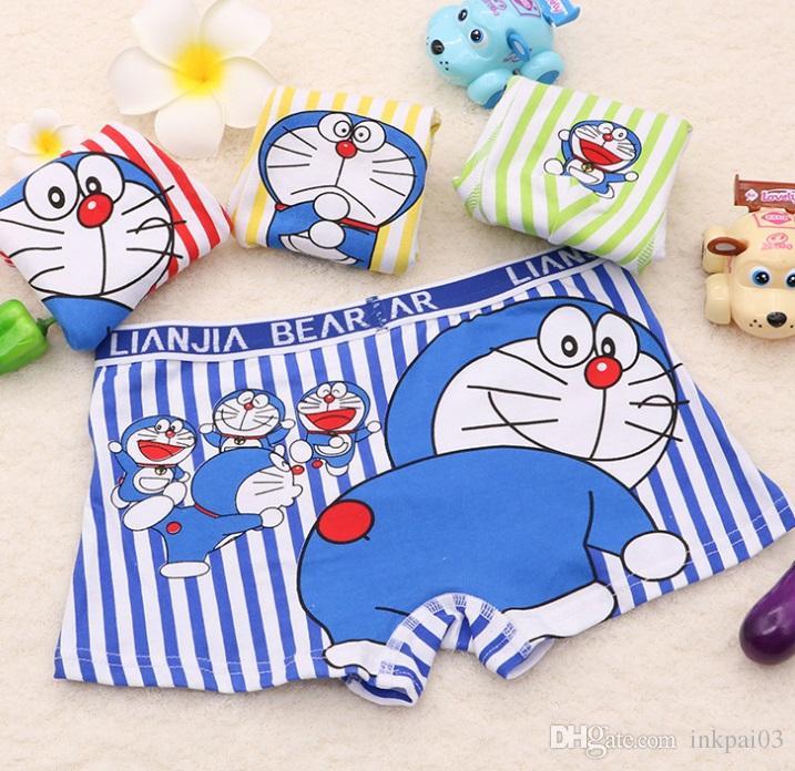 2 options mix baby comfortable cotton knit panties children underwear boy boxers briefs with little mokey Doraemon cat cartoon