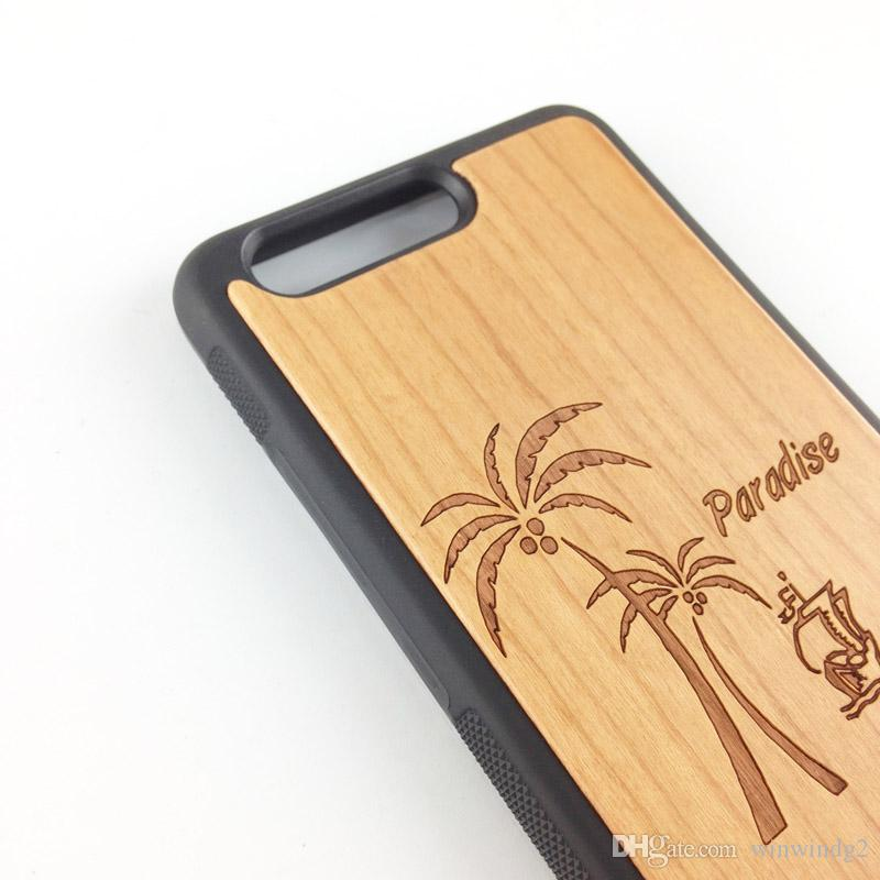 For Huawei p10 P10 Plus Bamboo Wood Cell Phone Cover with Soft TPU Bumper Hard PC Back Wooden Protective Case