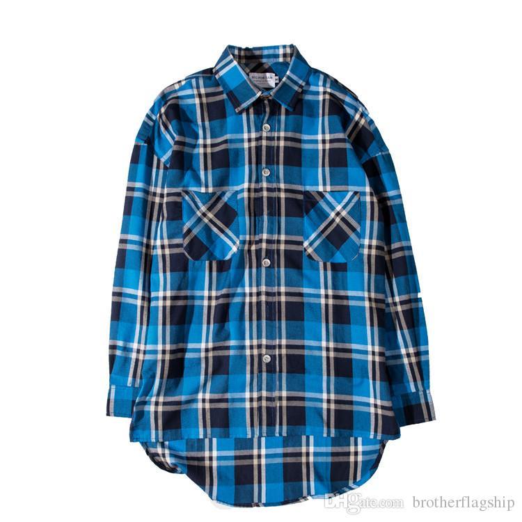 Cotone plaid homme camicie flanellate streetwear uomini manica lunga moda anteriore corta posteriore posteriore lungo orlo curvo