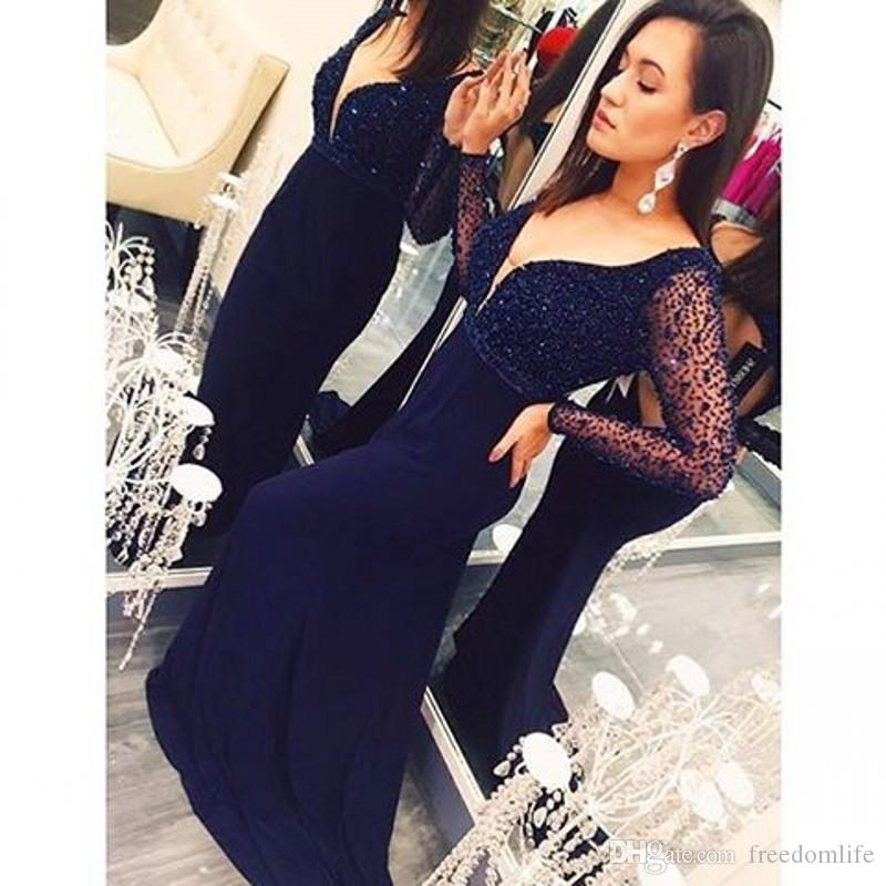 Sexy Navy Blue Evening Dresses Mermaid V Neck Full Sleeve Keyhole Back Long Prom Dress Beaded New Style Party Gowns