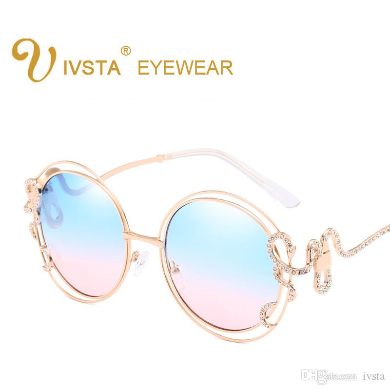 9024559f87 Fashion Rhinestone Inlay Round Sunglasses Women Elegant Brand ...
