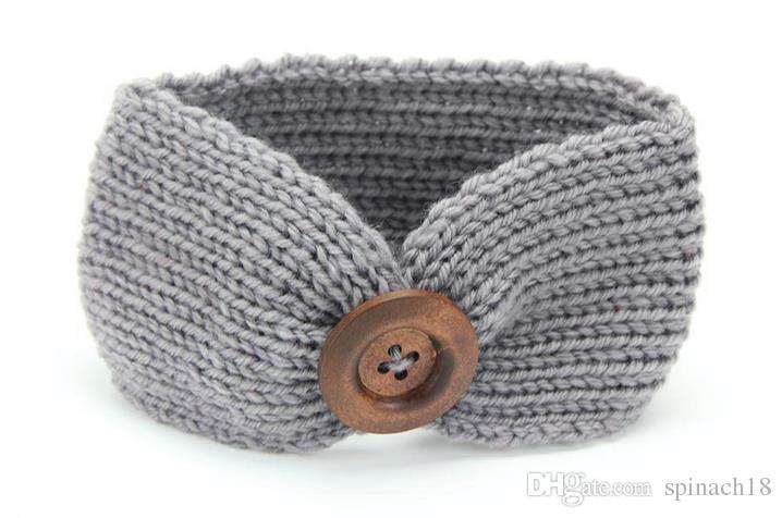 Lana caliente otoño invierno de punto de la venda de los bebés de los niños recién nacido del pelo de la venda principal Wrap turbante Headwear con el botón Niños Accesorios para el cabello