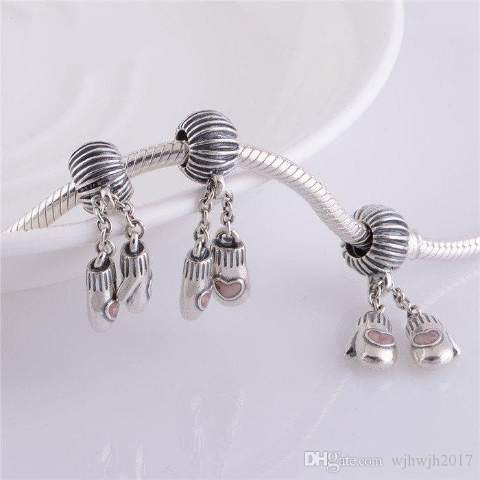 New Authentic 925 Sterling Silver Pink Enamel Christmas Gloves Dangle Thread Beads Jewelry Fits Pandora Bracelets DIY jewelry Making HB635