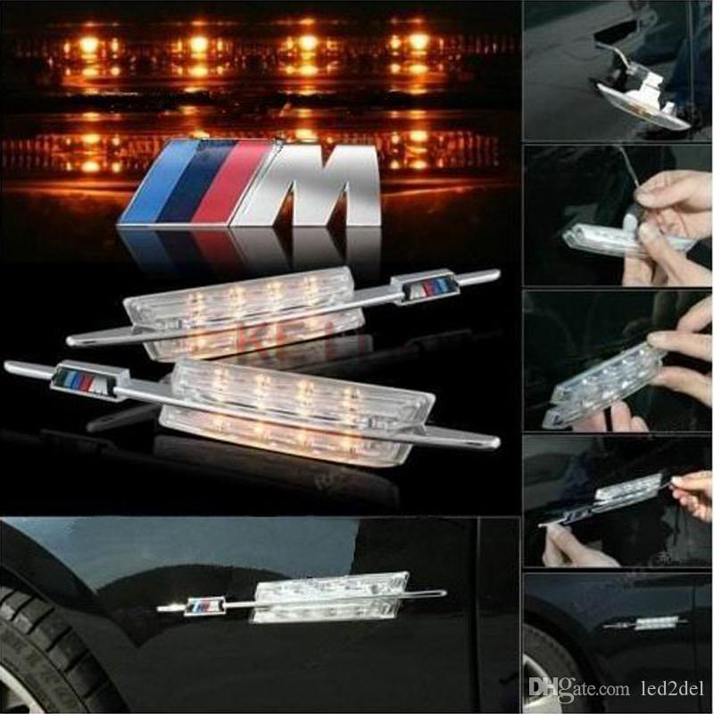 With M Sport badge Amber LED Clear Side Marker Lights Turn Signals Turning Light indicator For BMW 3 Series