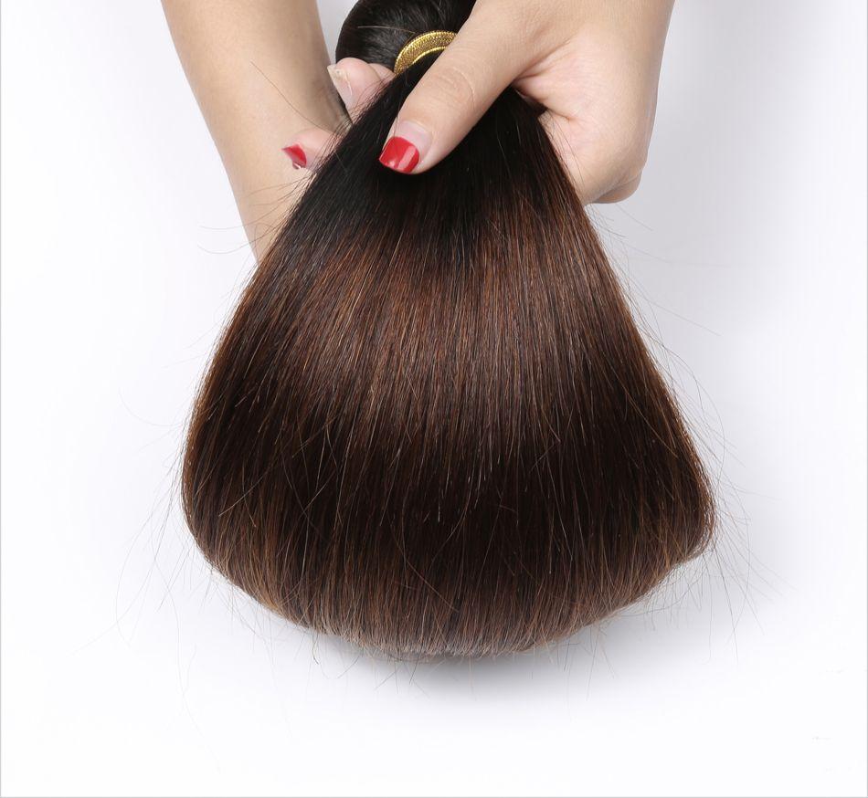 페루 스트레이트 인간의 머리카락 레미 머리카락 옹 브르 3 톤 1 / 4 / 27 컬러 더블 위사 100g / pc 염색 수 있습니다