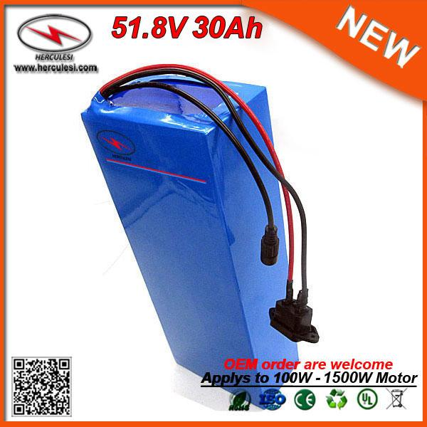 Flat 1500W Scooter Mid 14S6P Rechargeable Lithium Ion Cells 30Ah E-Bike Giant Bicycle Battery for Electric Bicycle 51.8v