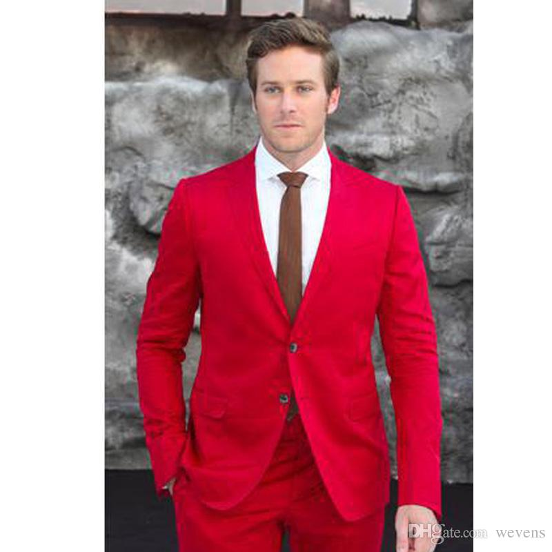 2017 Handsome Red Mens Suit Two Buttons Wedding Tuxedos Trim Fit ...