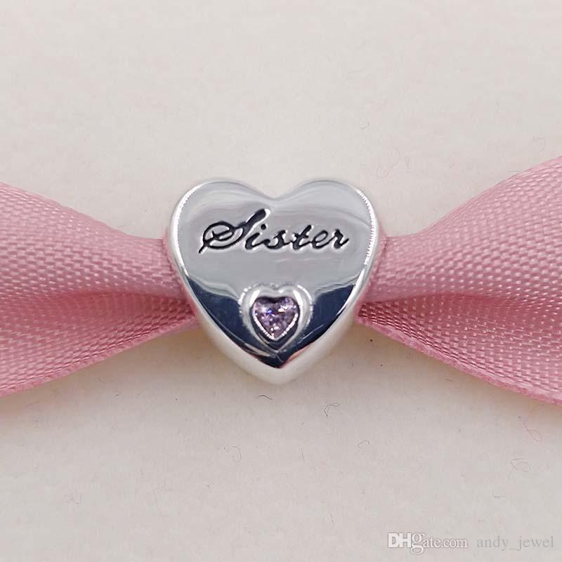 Familie 925 Sterling Silber Perlen Schwester Liebe Charme passt europäischen Pandora Style Schmuck Armbänder Halskette Z