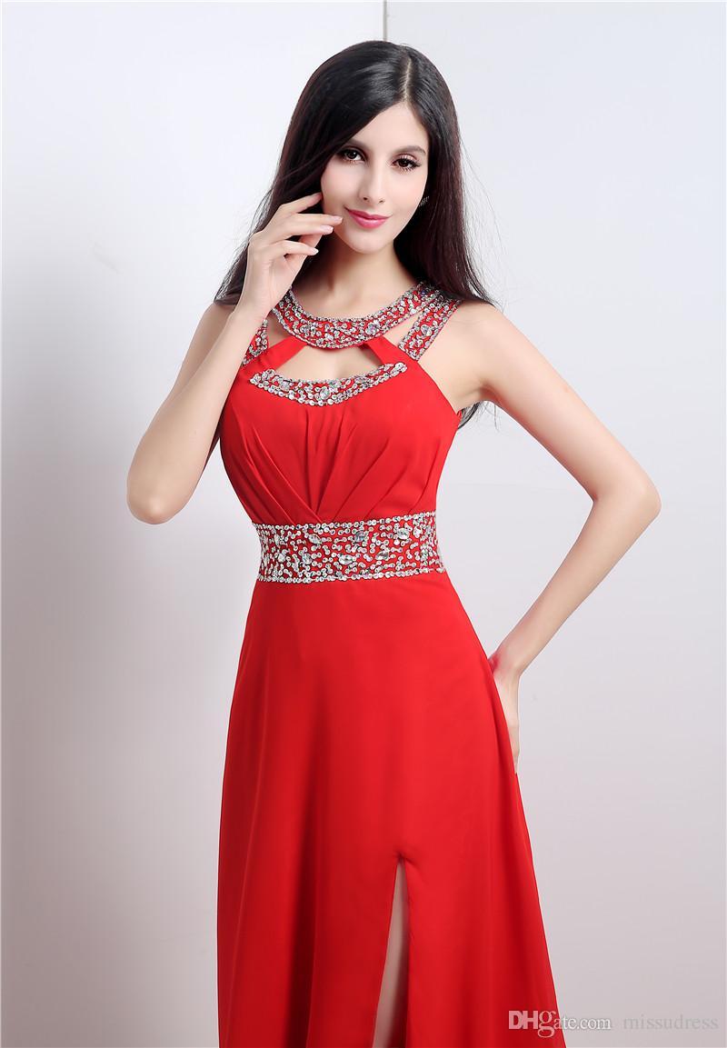 Crystal Jewel Red vestidos de fiesta con Side Slit Chiffon Criss-Cross Back Sexy vestidos de noche rojos Fiesta vestidos formales por la noche 2017