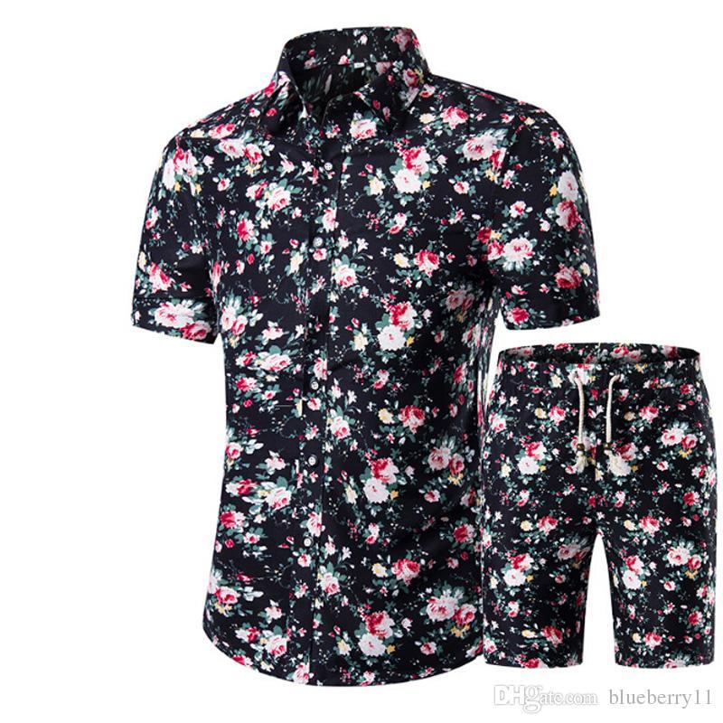 Мужские рубашки + шорты набор новых летних повседневных печатных гавайских рубашек Homme короткие мужские печатные платья наборы плюс размер
