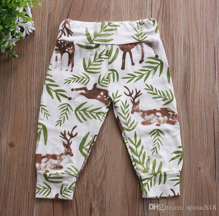Nuevo Bebé Bebés Florales Pantalones Ciervos Flores Cintura Alta Niños Niñas Pantalones Harem Niños Pantalones Ropa de Niños 3238