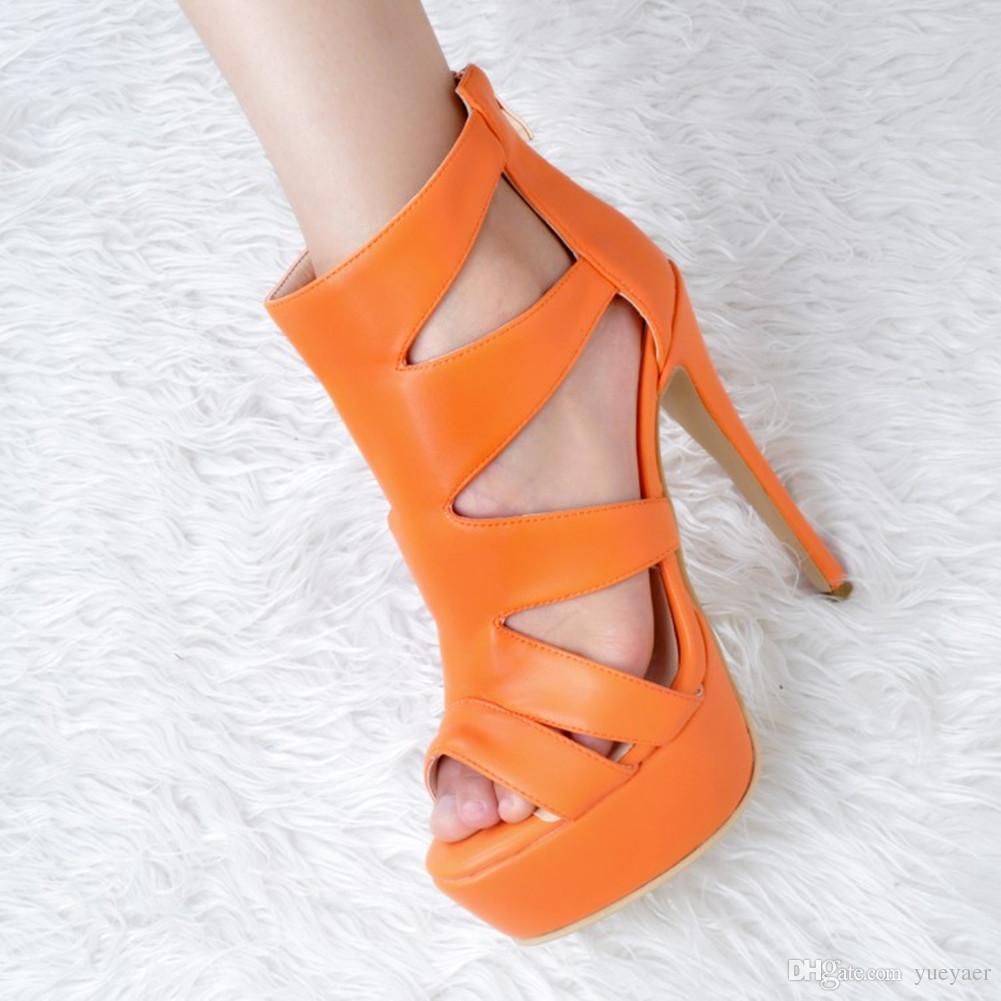 Zandina Toptan Bayan Moda El Yapımı 14 cm Peep Toe Yüksek Topuk Platformu Seksi Parti Balo Sandalet Yaz Ayakkabı XD010