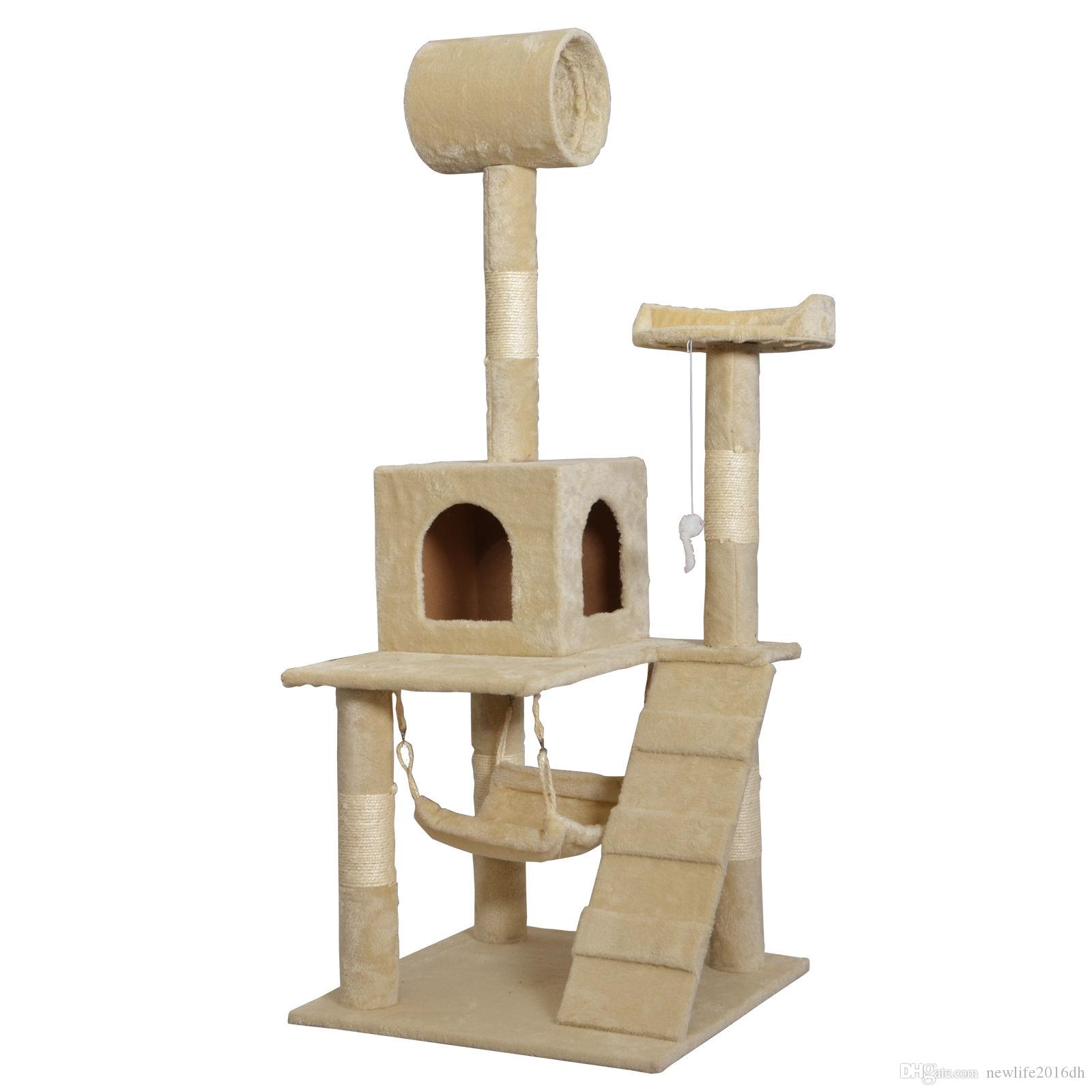 "Beige 55"" Cat Tree Tower Condo Scratcher Furniture Kitten House Hammock"