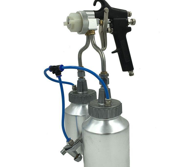 Manual Airbrush painting spray gun chrome double nozzle spray gun hvlp air spray gun with bottle cup for silver mirror