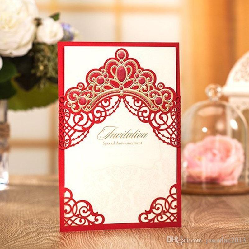 Wedding Invitations 2017 Elegant Pink Red Laser Cut Crown Graduation ...