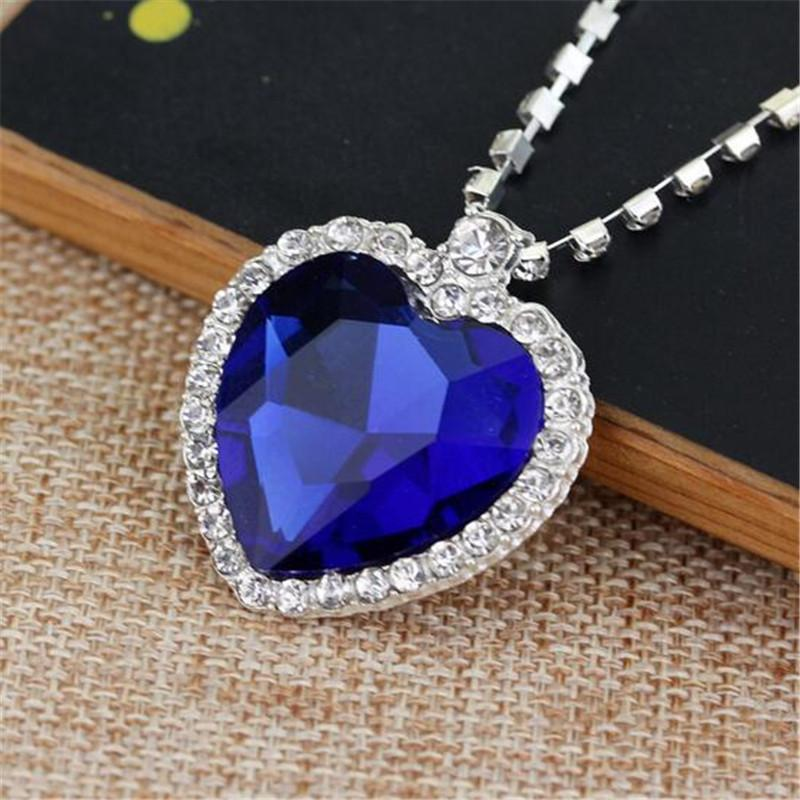 The heart of the ocean necklace crystal chain luxurious heart the heart of the ocean necklace crystal chain luxurious heart diamond pendants titanic necklaces for women movie statement jewelry heart diamond necklace aloadofball Image collections