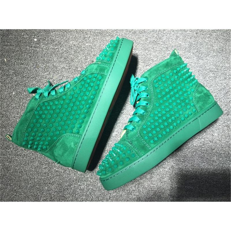 ec607634be5 New Arrival Green Mens Womens Shoes Red Bottoms Matter Leather With Spike  Studded High Top Sneakers