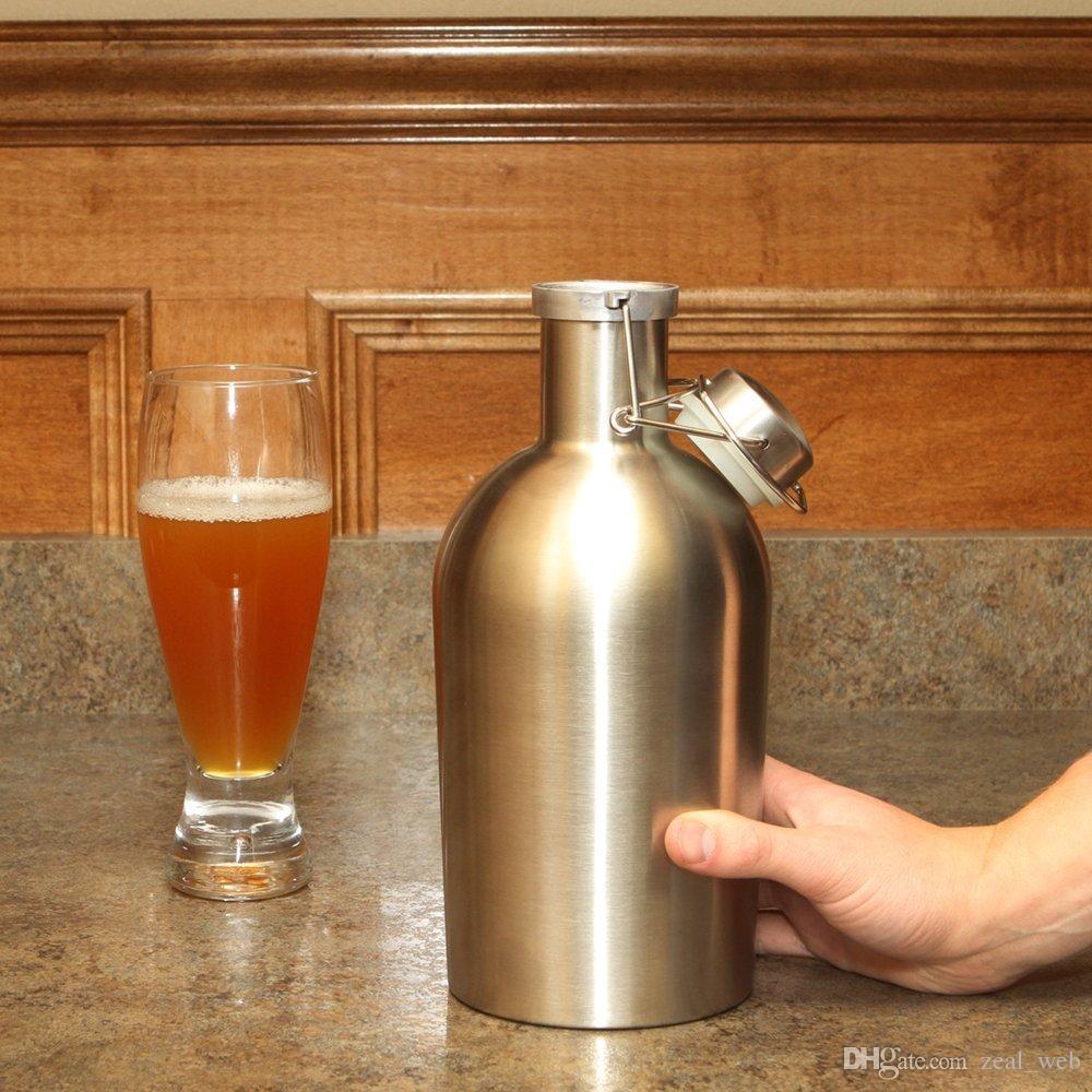 أرخص 64oz هادر الفولاذ المقاوم للصدأ البيرة قوارير المحمولة ويسكي الكحول النبيذ الورك قارورة جدار واحد الشرب حزب الإبريق الشحن المجاني 7