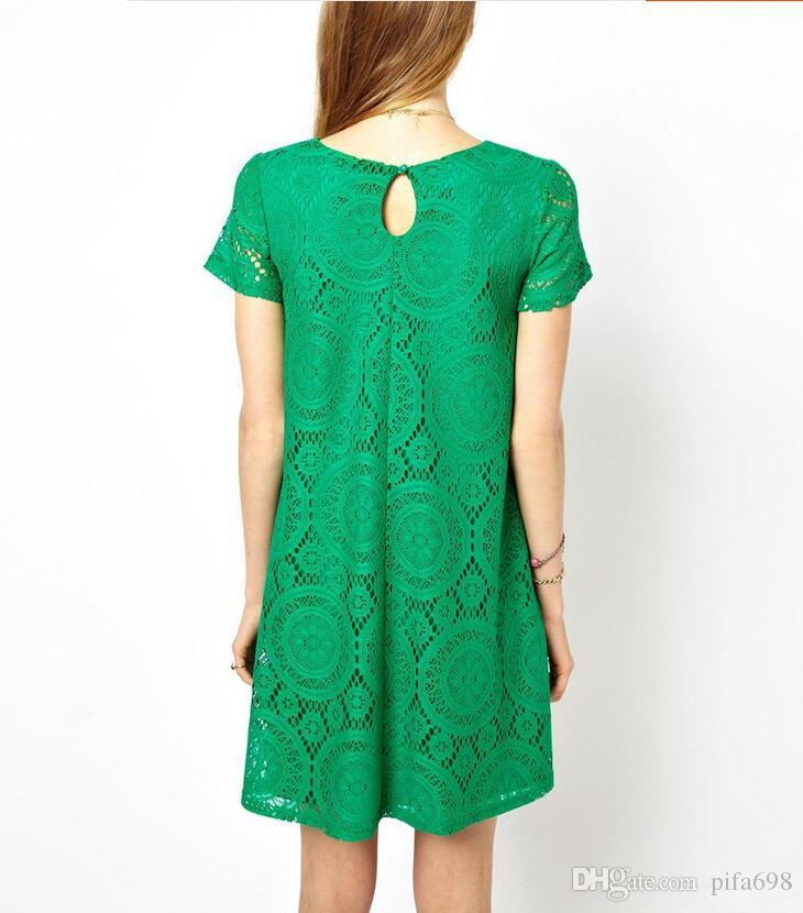 Summer big yards dress Europe and the United States the new dress is loose sleeves with hollow out bud silk, backing the a-line skirt