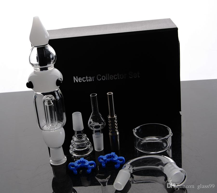 Nectar Collector glass water pipe Tips with Titanium Nail Dabber Dish wholesale pure glass bongs 14mm joint