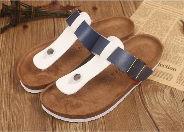 4a1fbefaedfe New Unisex Summer Buckle Cork Slipper Sandals Flats Shoes 2017 Casual Men  Women Mixed Color Beach Slippers Flip Flops Plus Size 35 44 Strappy Sandals  ...