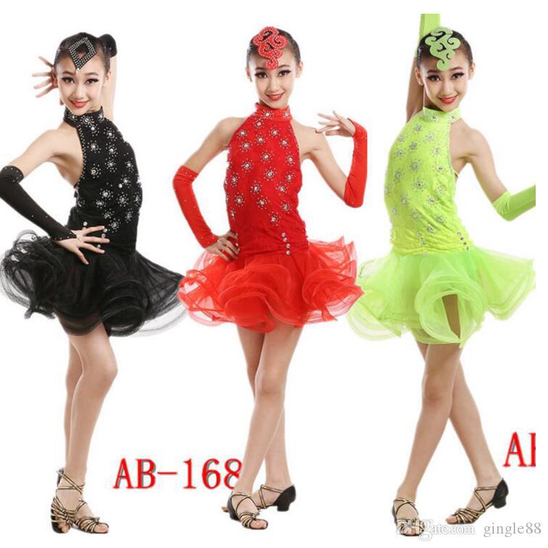 ea194c1c9 Latin Dance Dress Children With Hand Sewing Stone Girls Dance ...