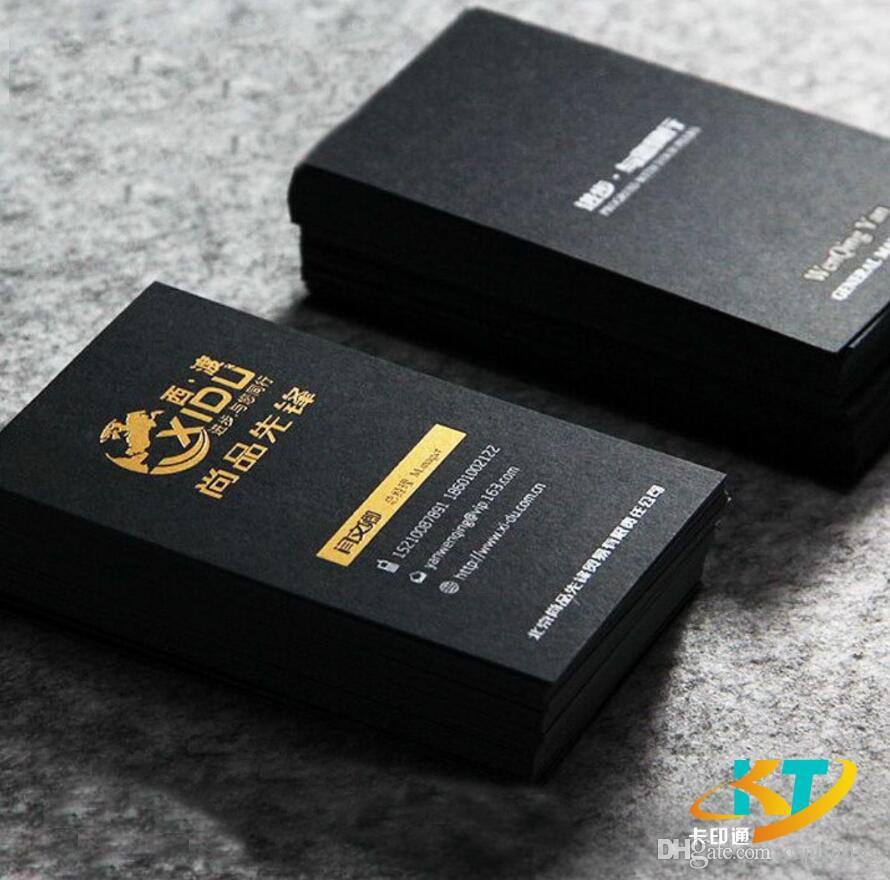 Solid Matt Black Business Cards Name Card Silver Golden Foil Stamp ...