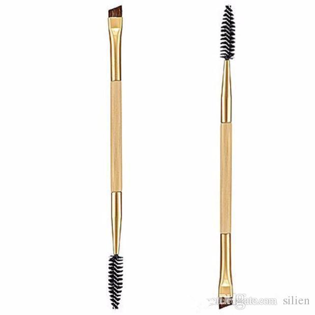 Beauty Girl Makeup Bamboo Handle Double Eyebrow Brush + Eyebrow Comb Eye Definer Brush Professional Small Angle Brush