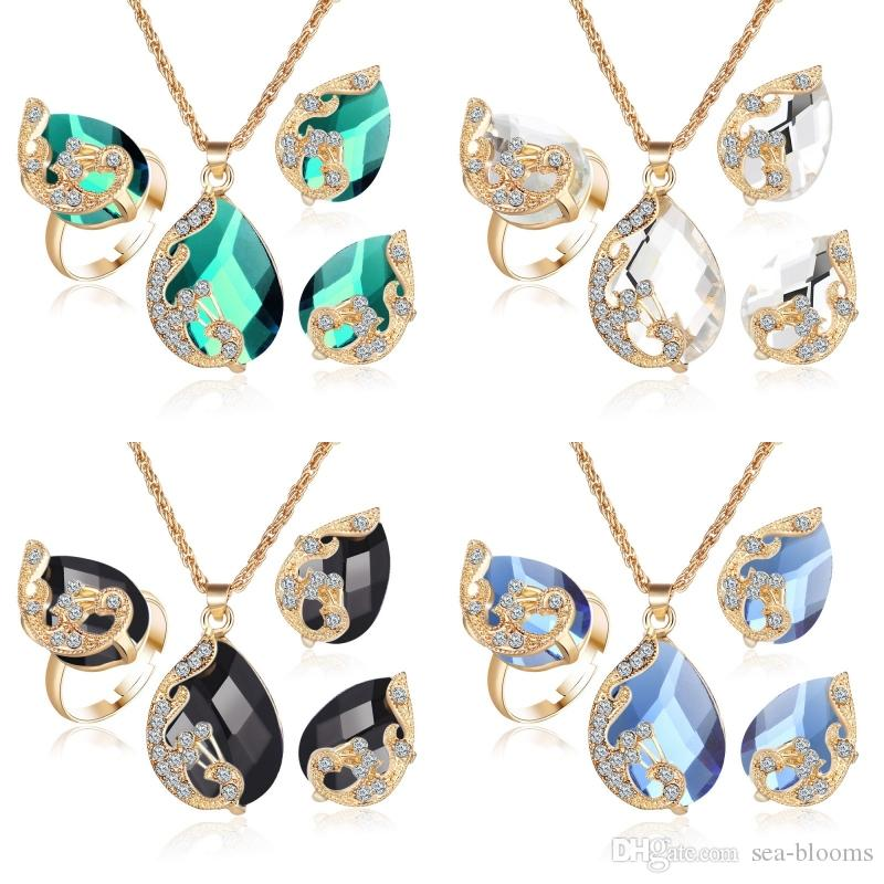 84da5e5475f802 Wholesale Water Drop Crystal Suit Necklace Ring Earrings Set Women Fashion  Gold Color Peacock Jewelry Set Gift D386LR Diamond Necklace Necklaces For  Women ...
