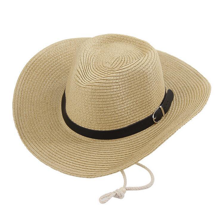 Sombreros de vaquero de los hombres de la trenza de la paja con la hebilla Sombreros para hombre occidentales de señora del sombrero del americano de América Sombrero de color caqui sólido